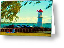 Go Fly A Kite Off A Short Pier Lachine Lighthouse Summer Scene Carole Spandau Montreal Art  Greeting Card