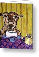 Goat At The Birthday Party Greeting Card by Jay  Schmetz