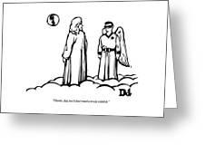 God Overlooks Earth Next To A Robin-like Angel Greeting Card