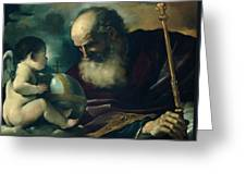 God The Father And Angel Greeting Card