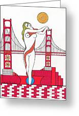 Goddess Of The Golden Gate Greeting Card by Michael Friend