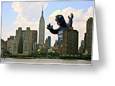Godzilla And The Empire State Building Greeting Card by William Patrick