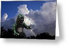 Godzilla Attacks Greeting Card by William Patrick