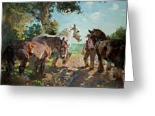 Going To Pasture Greeting Card