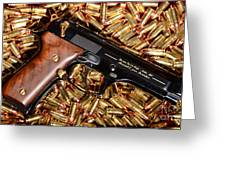 Gold 9mm Beretta With Brass Ammo Greeting Card