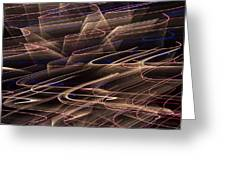 Gold Abstract Lights Greeting Card by Garry Gay