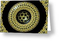 Gold And Black Stained Glass Kaleidoscope Under Glass Greeting Card