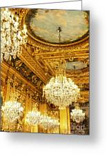 Gold Ceiling And Chandeliers Greeting Card
