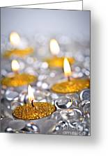 Gold Christmas Candles Greeting Card