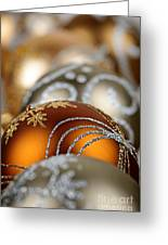 Gold Christmas Ornaments Greeting Card by Elena Elisseeva