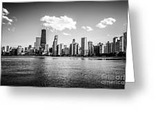 Gold Coast Skyline In Chicago Black And White Picture Greeting Card