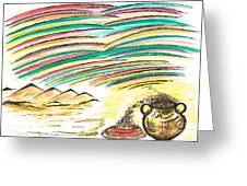 Gold Coins At The End Of  Rainbows Greeting Card