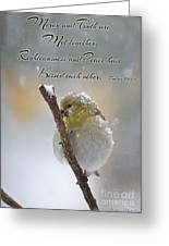 Gold Finch On A Snowy Twig With Verse Greeting Card