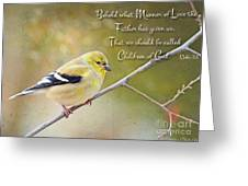 Gold Finch On Twig With Verse Greeting Card