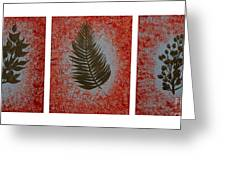 Gold Leaves On Orange Triptych Greeting Card