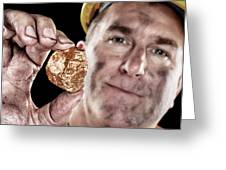Gold Miner With Nugget Greeting Card