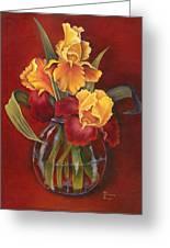 Gold N Red Iris Greeting Card
