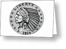 Gold Quarter Eagle Greeting Card