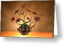 Gold Spirals Glass Flowers Greeting Card