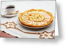 Golden Apple Tart And Coffee Cup Greeting Card