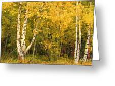 Golden Autumn Forest Mixed Media Painting Greeting Card