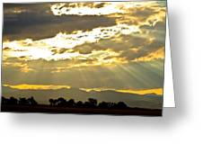 Golden Beams Of Sunlight Shining Down Greeting Card