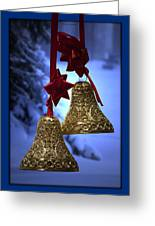 Golden Bells Blue Greeting Card Greeting Card