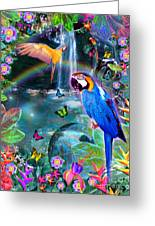 Golden Bluebirds Paradise Version 2 Greeting Card
