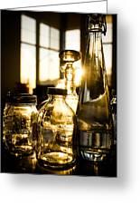 Golden Bottles And Mason Jars Greeting Card