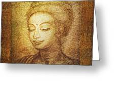 Golden Buddha Greeting Card by Ananda Vdovic
