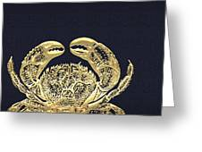 Golden Crab On Charcoal Black Greeting Card