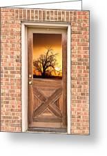 Golden Doorway Window View Greeting Card
