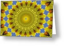 Golden Everlasting Daisy Mandala Greeting Card