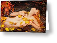 Golden Fall - The River Girl Greeting Card