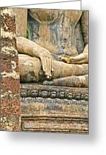 Golden Fingernails On Sitting Buddha At Wat Mahathat In Sukhothai Historical Park-thailand Greeting Card