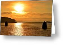 Golden Foggy Sunrise Colors On Santa Rosa Sound At Hurlburt Harbor Greeting Card