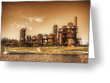Golden Gas Works Greeting Card