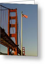 Golden Gate And American Flag Greeting Card