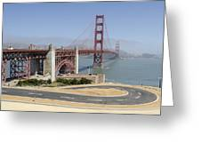 Golden Gate Bridge And Bike Path Greeting Card