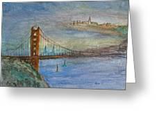 Golden Gate Bridge And Sailing Greeting Card by Anais DelaVega