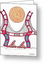 Golden Gate Bridge Dancing In The Wind Greeting Card by Michael Friend