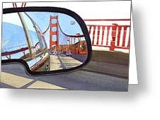 Golden Gate Bridge In Side View Mirror Greeting Card