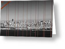Golden Gate Bridge Panoramic Downtown View Greeting Card