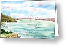 Golden Gate Bridge View From Point Bonita Greeting Card by Irina Sztukowski