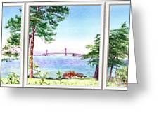 Golden Gate Bridge View Window Greeting Card