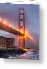 Golden Gate In Fog Greeting Card