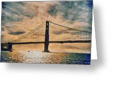 Golden Gatepost Greeting Card