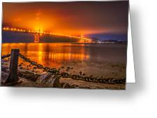 Golden Golden Gate Bridge  Greeting Card