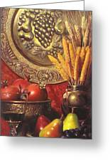 Golden Harvest With Red Wine Greeting Card