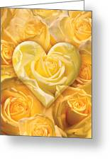 Golden Heart Of Roses Greeting Card